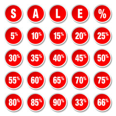 "Red Price Tags Round Set ""Sale"""
