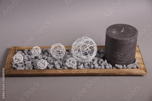 canvas print picture Dekoschale mit Kerze unbearbeitet