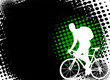 bicyclist on the abstract halftone background - vector