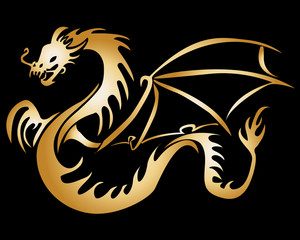Stylised Gole Dragon Illustration