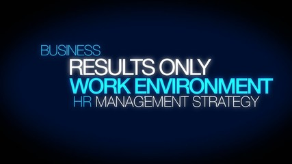 ROWE Results Only Work Environment HR words tag cloud