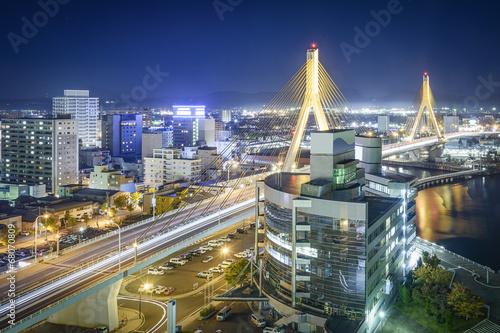 Foto op Plexiglas Japan Aomori, Japan at Bay Bridge