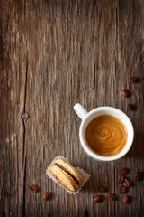 Espresso coffee with macaron.