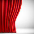 Background with red velvet curtain.  illustration.