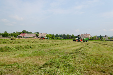 agricultural machines prepare hay animal fodder