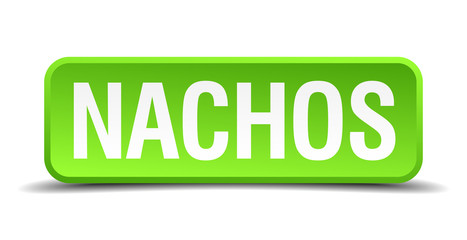 Nachos green 3d realistic square isolated button