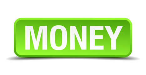 Money green 3d realistic square isolated button