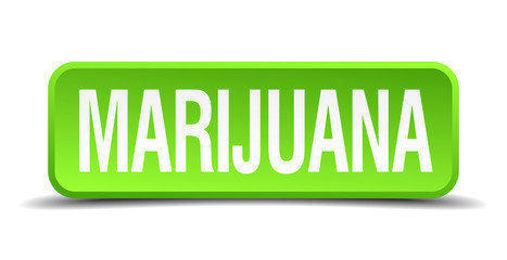 Marijuana green 3d realistic square isolated button