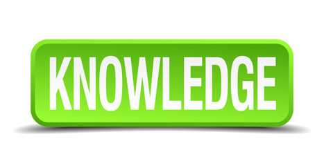 Knowledge green 3d realistic square isolated button