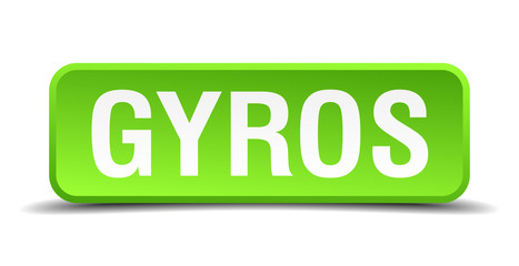 Gyros green 3d realistic square isolated button
