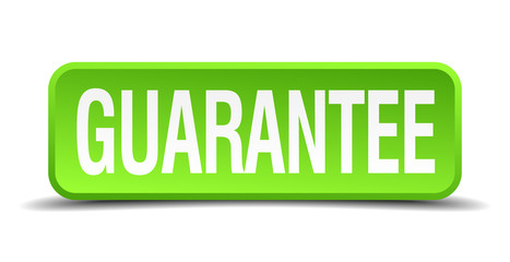 Guarantee green 3d realistic square isolated button
