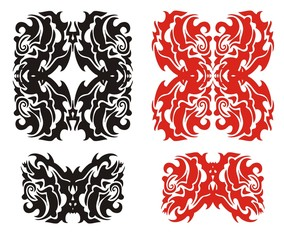 Tribal monster elements. Red and black on the white
