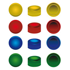 four colors plastic caps from pet bottles