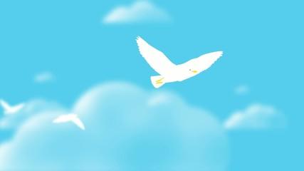 Möwe im Flug über den Wolken