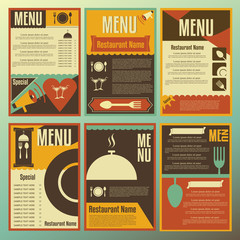 Restaurant menu designs. Collection of retro-style