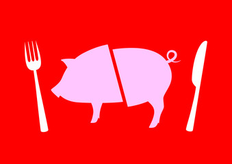 Pig icon on red background