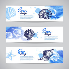 Seashell banners. Sea nautical design