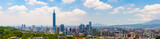 Cityscape of Taipei under the blue sky