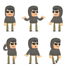 set of hacker character in different poses