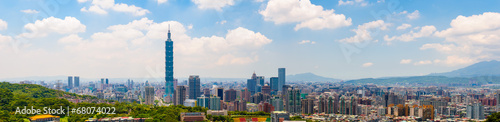 Tuinposter China Cityscape of Taipei under the blue sky