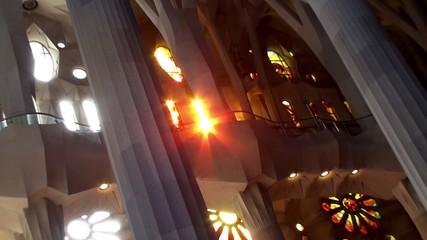 Sagrada Familia. Sun light  passes through the stained glass