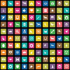 100 animals, pets icons set.