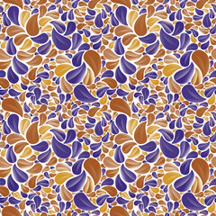 Seamless beautiful floral background in yellow, brown-orange