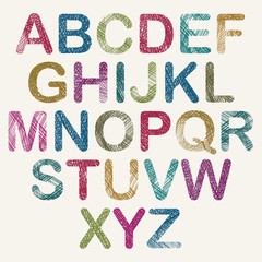 Hand drawn and sketched color rounded font, vector sketch style