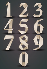 Origami style numbers set, monochrome version