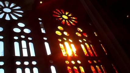 Sagrada Familia church. Llight  passes through the stained glass