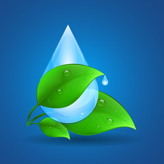 Blue background with green leaves and water drops