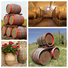 wine barrels collage