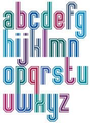 Retro stripe geometric font.