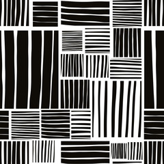 Patched lines seamless pattern, black and white vector backdrop