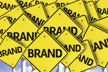 Brand written on multiple road sign