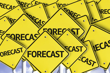 Forecast written on multiple road sign