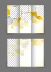 Tri-fold brochure in orange color