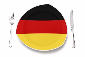 Teller mit deutscher Flagge