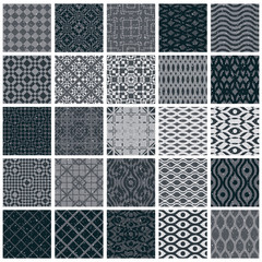 Vintage tiles seamless patterns, 25 monochrome designs vector se