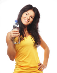 confident gym woman with water bottle