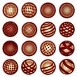 Red golden planet symbols, vector