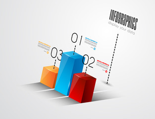 3D effect infographic histogram for product ranking