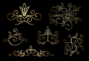 gold floral design elements - vector set