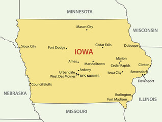 Iowa - vector map
