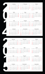 Simple Calendar year 2014, 2015, vector