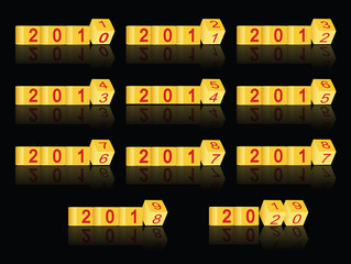 cube passing years 2011-2020, vector
