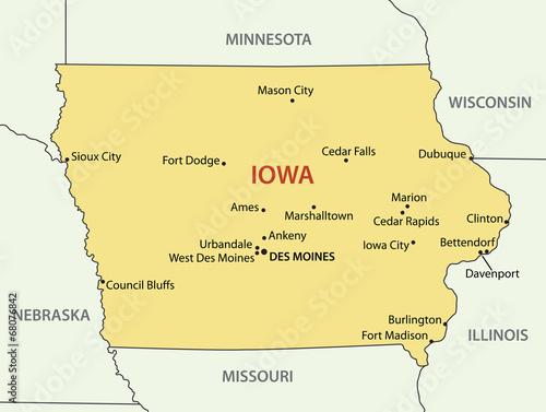 Iowa - vector map