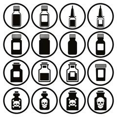 Medical bottles icon set.