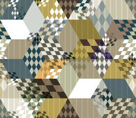 Abstract retro style 3d cubes geometric seamless pattern.