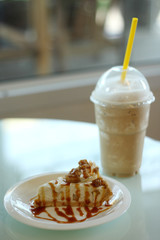 Apple cheese pie with ice coffee frappe